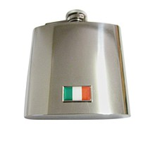 Thin Bordered Ireland Flag Pendant 6 Oz. Stainless Steel Flask