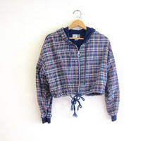 Vintage plaid jacket. cropped Zip up jacket. Slouchy blue, red and white jacket with hood. light weight preppy Jacket