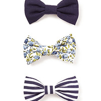 Floral Stripes Hair Bow Set