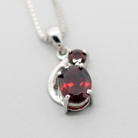 Two Genuine Garnet Silver Pendant/Necklace, 925 Dual Garnet Pendant, January Birthstone, Birthdays, Wedding, Anniversary, Valentine Gift
