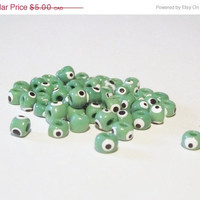 ON SALE Turkish Glass Evil Eye Beads - Handpainted dark green 4mm 20 pcs