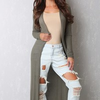 The Long Cardigan Olive