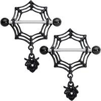 "9/16"" Black Gem Black Spiders Webs Halloween Dangle Nipple Shield Set"