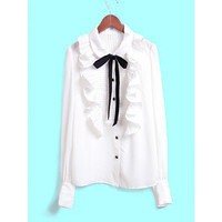 Women White Bow Lapel Ruffle Front Button Long Sleeves Chiffon Korean Style Fashion Cute Fitting Top S/M @MF9908