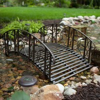 4-Foot Steel Frame Garden Bridge in Rustic Weathered Black Finish