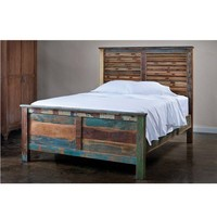 Reclaimed Wood Weathered Queen Platform Bed - Beds - Bedroom