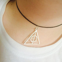 Harry Potter Deathly Hallows Black Cord Choker Necklace
