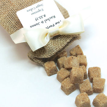 Coffee Wedding Favor- 20 Espresso Sugar Cubes in Burlap Bag, Weddings, Baby Shower, Rustic Wedding Favor, Corporate Event, Perfect Blend