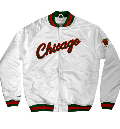 Image of Jeffersons Exclusive Mitchell & Ness Chicago Bulls Satin Jacket in White, Red & Green