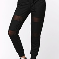 LA Hearts Mesh Inset Jogger Ankle Pants - Womens Pants - Black