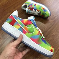 NIKE Air force 1 Rainbow Chicago Series Sneakers Leisure Shoes Green yellow blue