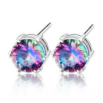 Multicolor Irregular Diamond Earrings Ear Studs