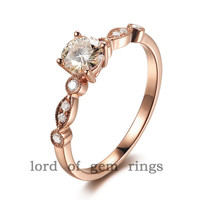 Round Moissanite Engagement Ring Pave VS Diamond Wedding 14K Rose Gold 5mm  Art Deco