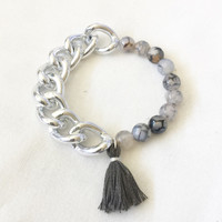 Stretch Elastic Beaded Silver Chain Bracelet Arm Candy Natural Stone Black Silver Grey size 6 1/2 to 7 inches