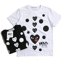 AUGUAU COMME des GARÇONS Holiday Emoji Dot with Heart T-Shirt