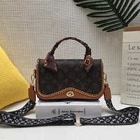LV Louis Vuitton vintage printed letters with silk scarf messenger bag shoulder bag shopping bag