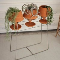 Set of 3 Clay Pots On A Wire Base