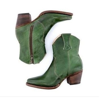 Woman's High Heel Thick Heel Side Zipper Ankle Boots Shoes