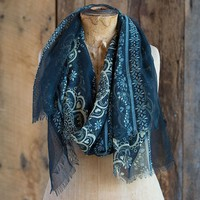 Scarves:  Navy  with  Cream  Mandala  Gypsy  Frayed  Scarf  From  Natural  Life