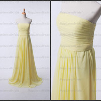 Custom A-line Strapless Floor-length Chiffon Sash Long Bridesmaid Dress Prom Dress Formal Evening Dress Party Dress Cocktail Dress 2013