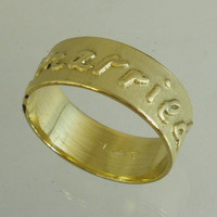 your own Handwritten ring,lets get married ring,love ring,Recycled Gold, Wedding ring, Woman Wedding Band. Man Wedding Band,