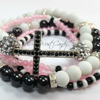 Pink Black and White Beaded Bracelet Set, Multi-Color Bracelet, Cross Bracelet,Stretchy, Womens Jewelry, Handmade, Custom, Beaded Jewelry