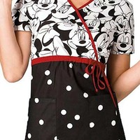 Buy Disney Women Mock Wrap Big Minnie Print Scrub Top for $21.95