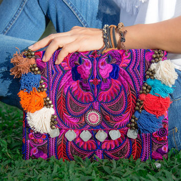 Handmade Ipad Cover Bag with Hmong Embroidered in Pink
