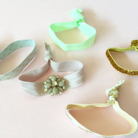 Bling Embellished Hair Ties Set of 5 in Taupe, Mint, Grey and Gold Polka Dots, Metallic Aztec Print and Gold Glitter