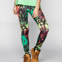 See You Monday Snoop Dogg Venezia Rasta Leaves Womens Leggings Multi  In Sizes