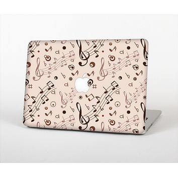 """The Tan Music Note Pattern Skin Set for the Apple MacBook Air 11"""""""