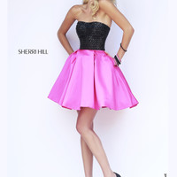 Short Sherri Hill Black Bodice Prom Dress 32145