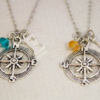 Two Best Friends Necklaces - Compass Charm Necklaces - Personalized Birthstone Jewelry - Custom Monogram Jewelry - Best Friend Gift
