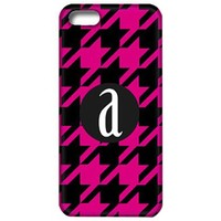 Houndstooth Phone Case with Initial-Black and Pink