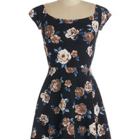 ModCloth Mid-length Cap Sleeves A-line Old-Fashioned Efflorescence Dress