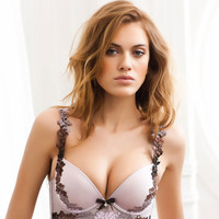 HOT!Free shipping 2017 new embroidery sexy push up bra set floral side closing adjustable four-breasted lingerie suit women sets