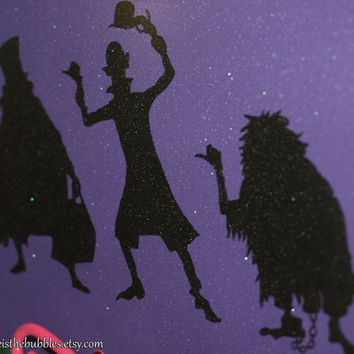 Haunted Mansion, Hitchhiking Ghosts Sparkling Silhouette, 8 x 10 Acrylic Painting, Wrapped Canvas, Disney Inspired, by Life is the Bubbles