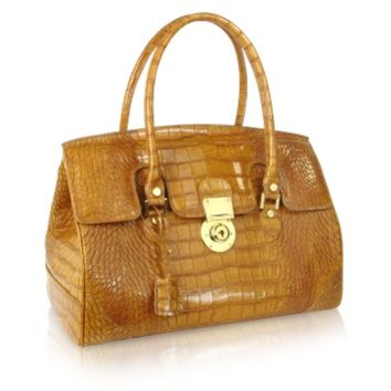 L.A.P.A. Designer Handbags Camel Croco Stamped Genuine Leather Satchel Bag