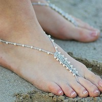 Barefoot Sandals Foot Jewelry Anklet Toe Ring Thongs Beach Destination Wedding Soleless Crochet