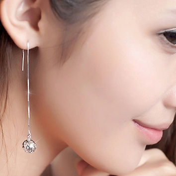 S925 Sterling Silver Hollow Exquisite ball Dangle Earrings,Long ChainThreader Earrings, Gift For Mon YZ00