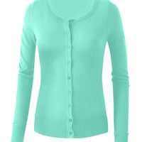 LE3NO Womens Plus Size Lightweight Round Neck Fine Knit Cardigan Sweater with Stretch