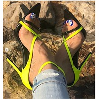 Women's high heels pointed stiletto high heels color matching fluorescent color sandals women