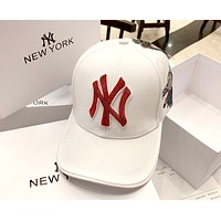 NY 2019 new edging hot drilling couple baseball cap cap white