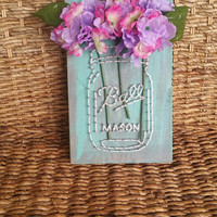 Mason Jar String and Nail Art Flower Vase, Mother's Day Gift, Country Chic Home Decor, Rustic Wall Hanging, Spring Purple Hydrangea