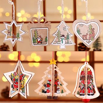 Christmas decoration wooden Christmas laser hollow Christmas tree pendant
