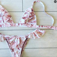 Hot Swimsuit Sexy Beach Summer New Arrival Swimwear Print Lace Ladies Bikini [11019722639]