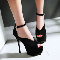 Fashion Sexy Thin High-heeled Shoes, Women Bridal Evening Platform Faux Suede High-heeled Peep Toe Pumps