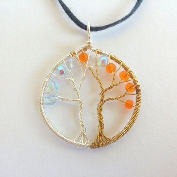 FREE SHIPPING Tolkien inspired wire pendant with glass beads