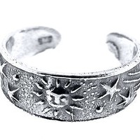 Sterling Silver Toe Ring Sun and Stars, One Size Fits All