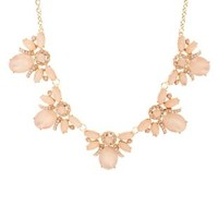 Clustered Faceted Stone Statement Necklace - Rose Gold